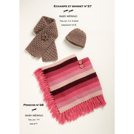 Model SCARF and bonnet CB19-27 - Free knitting pattern