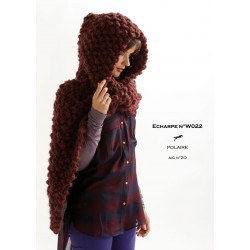 Model Hooded scarf W022- Free knitting pattern