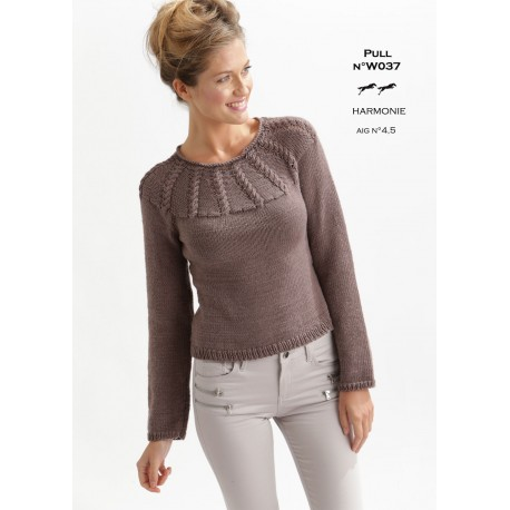Model Jumper W037 Free Knitting Pattern Cheval Blanc