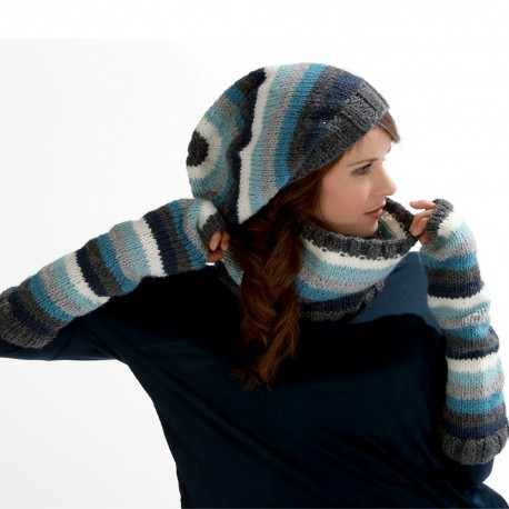 Model Hat, Snood and Fingerless Gloves CB17-17 - Free knitting pattern