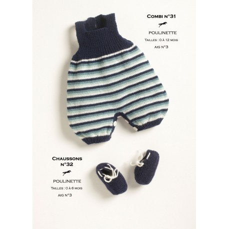 Model dungarees-bootees CB18-30-31 - Free knitting pattern
